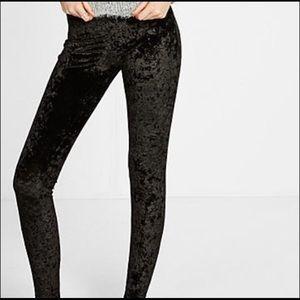 Express black velvet leggings